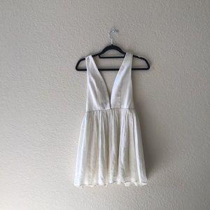 Tobi cream low cut dress